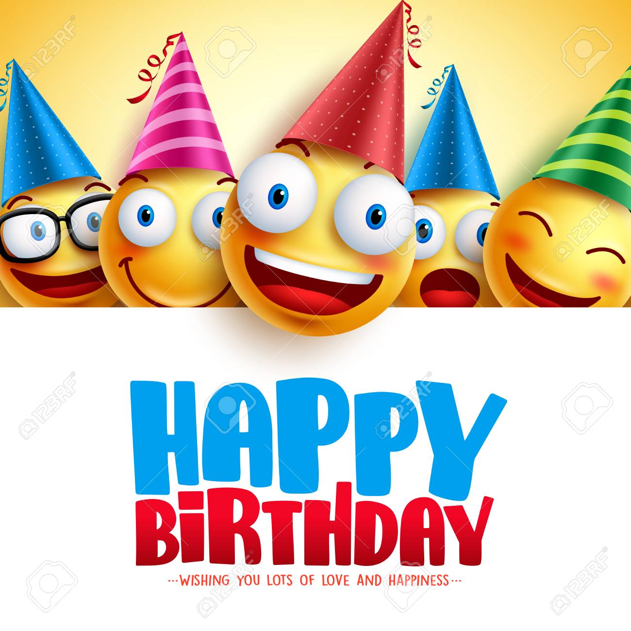 Happy Birthday Smileys Vector Background Design With Yellow Funny Royalty Free Cliparts Vectors And Stock Illustration Image 99347083