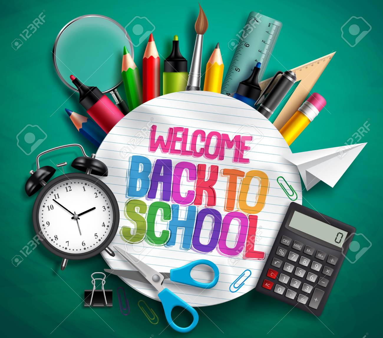 Welcome back to school vector banner with school supplies, education elements and colorful text in textured white paper in green background. Vector illustration. - 99790690