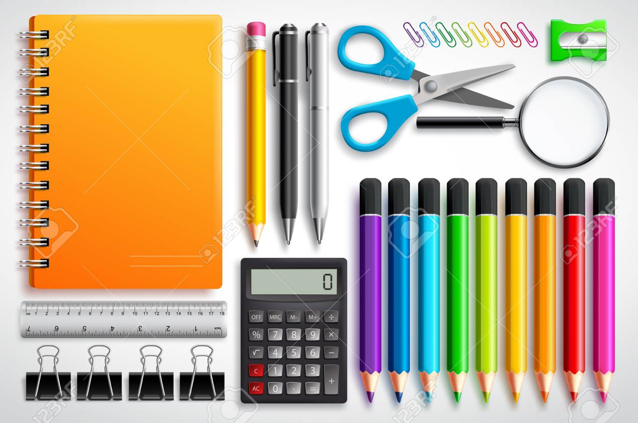 School supplies vector set with color pencils notebook, pens and office supplies in white background. Education elements for back to school design. - 100593174