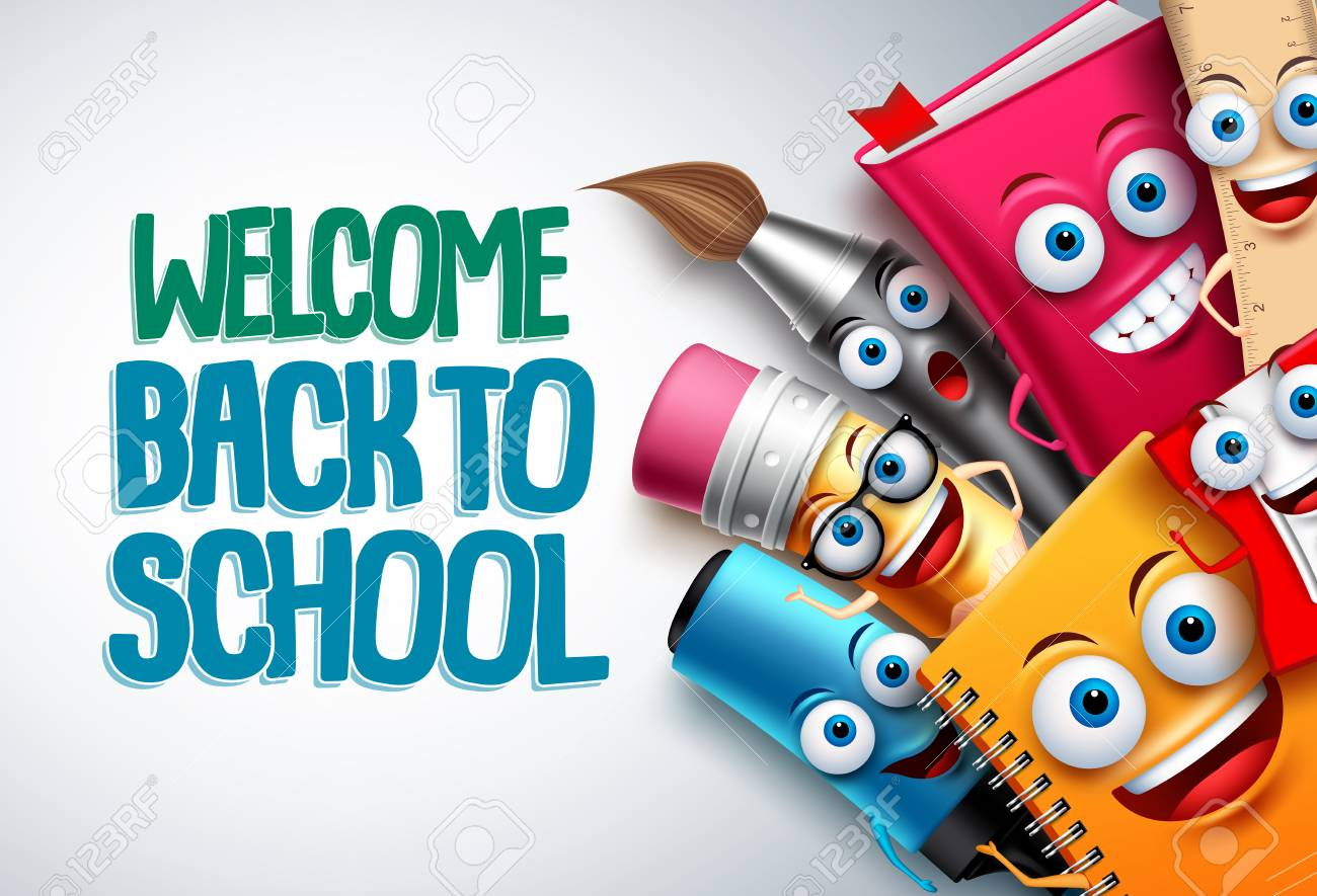 Back to school vector characters background template with funny education cartoon mascots like pencil and book and white space for text. Vector illustration. - 100939076