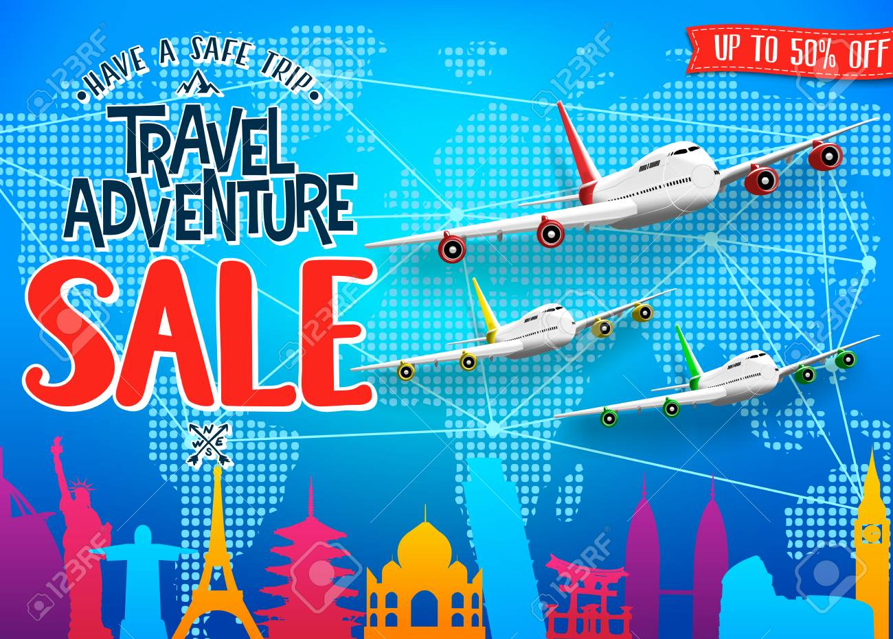 Creative Travel Adventure Sale Promotional Banner With Colorful World Famous Landmarks Silhouette And Airplanes For Advertisement
