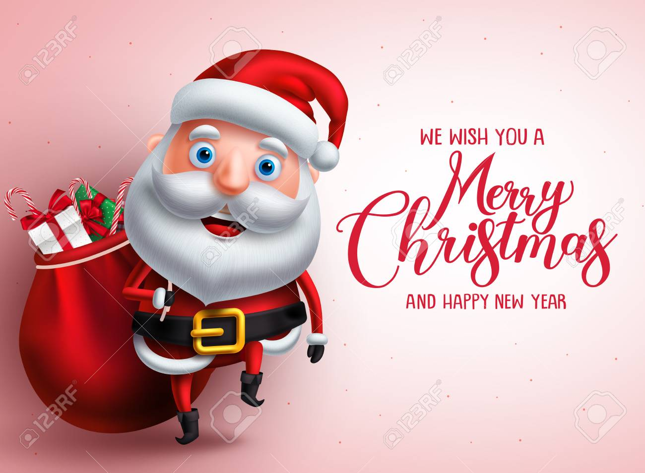 Mery Christmas.Mery Christmas Greeting With Santa Claus Vector Character Carrying