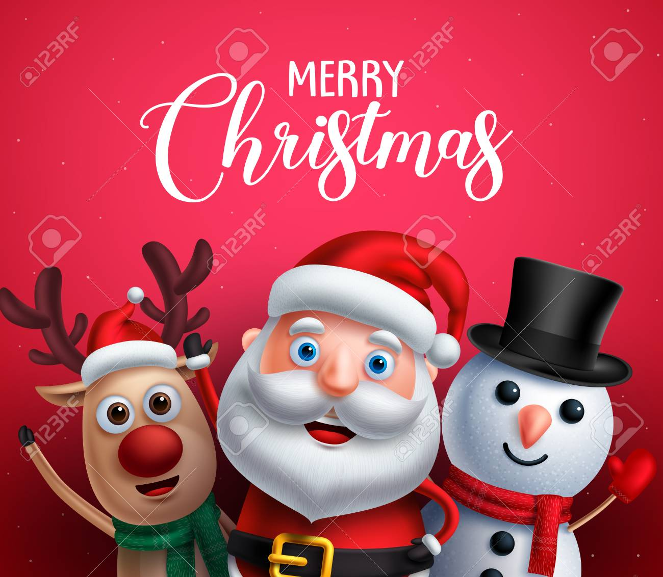 Merry christmas greeting text with santa claus, reindeer and snowman vector characters happy sing christmas carol in red background. Vector illustration. - 108023921