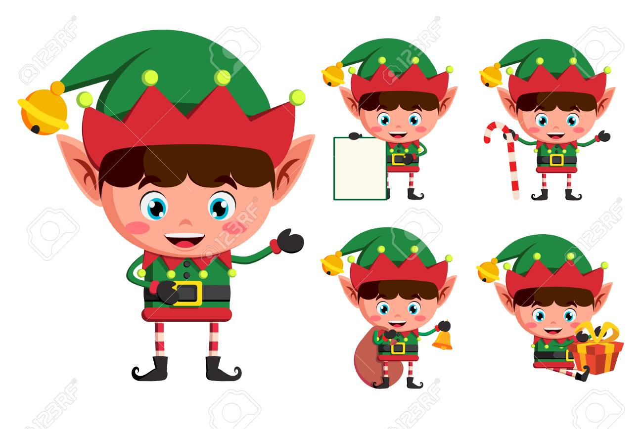 Christmas Elves.Christmas Elves Vector Character Set Young Boy Elf Cartoon Characters