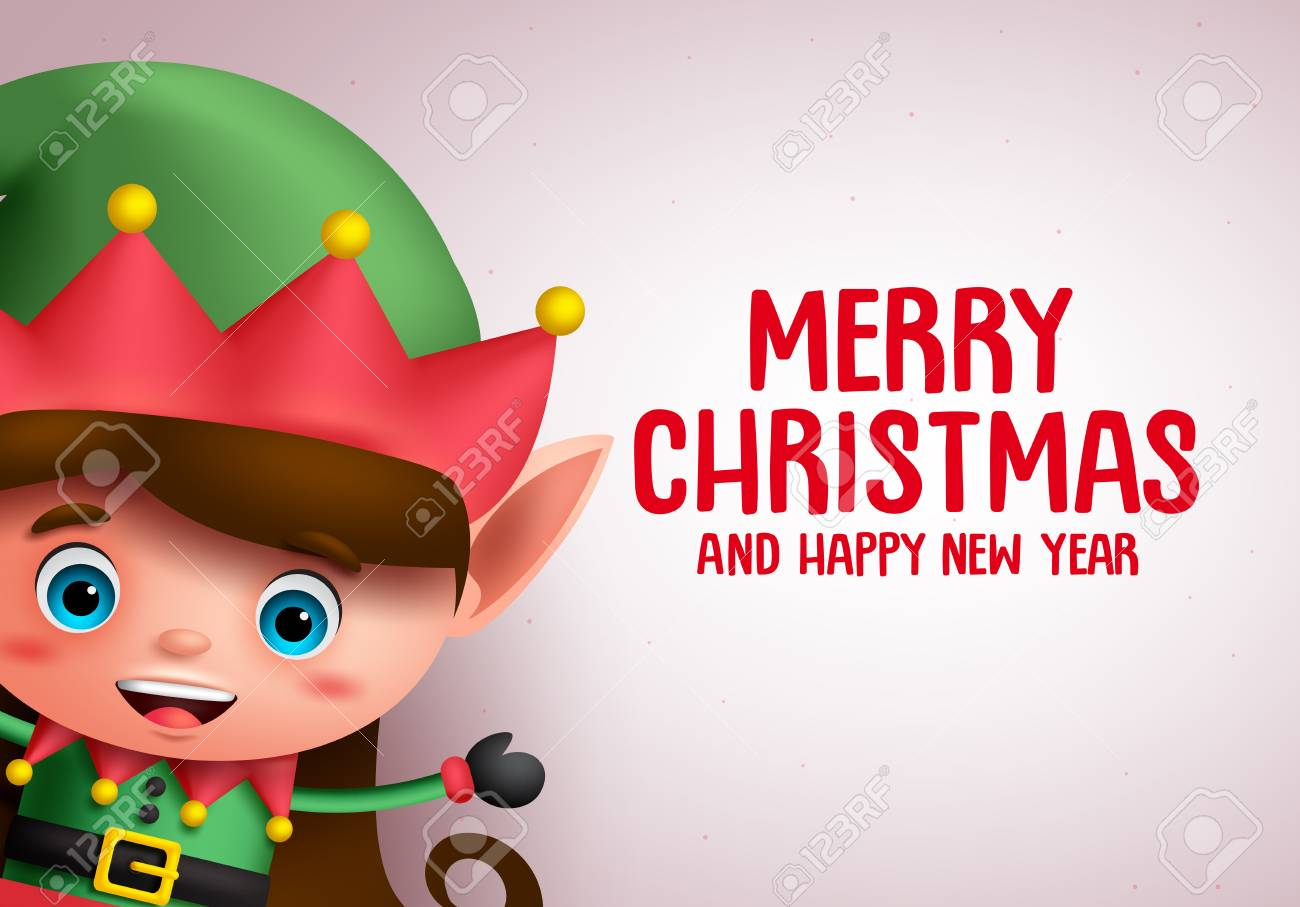 Christmas Vector Background Template With Girl Elf Character