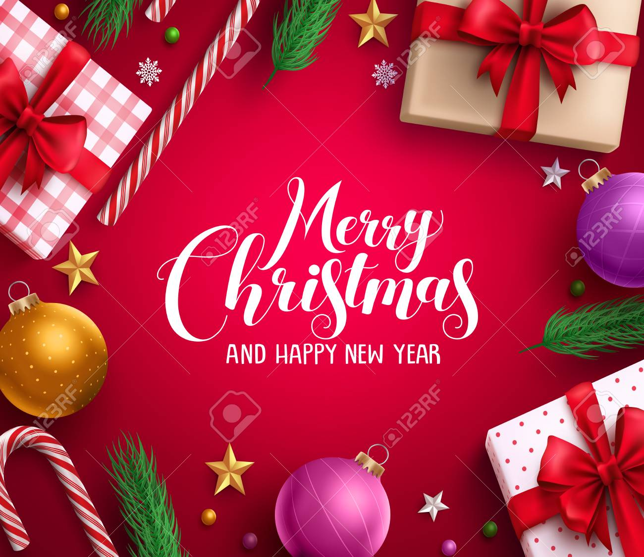 Merry Christmas Card.Christmas Card Vector Background With Merry Christmas Greeting