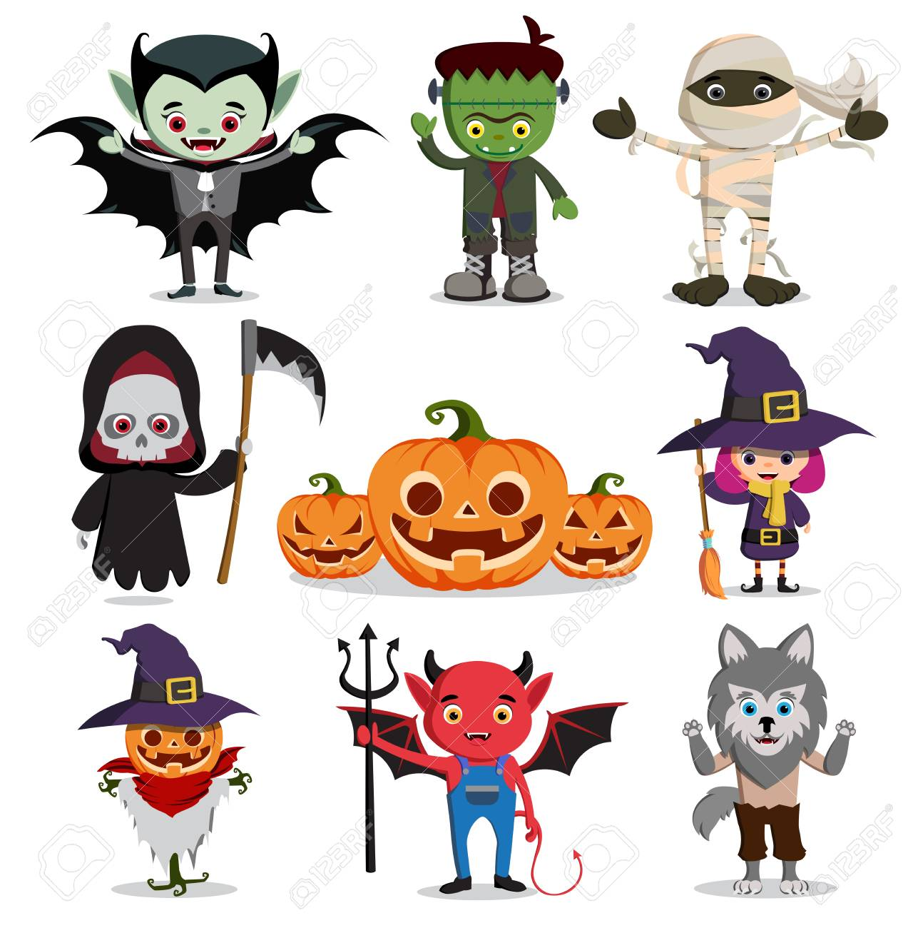 halloween vector characters set. Flat scary cartoon horror elements..