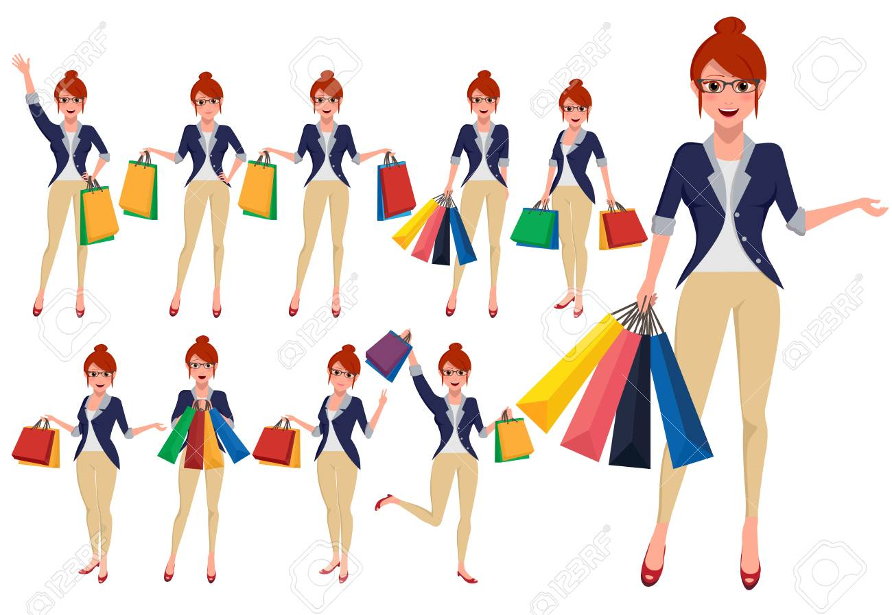 Woman shopper vector character set holding shopping bags with