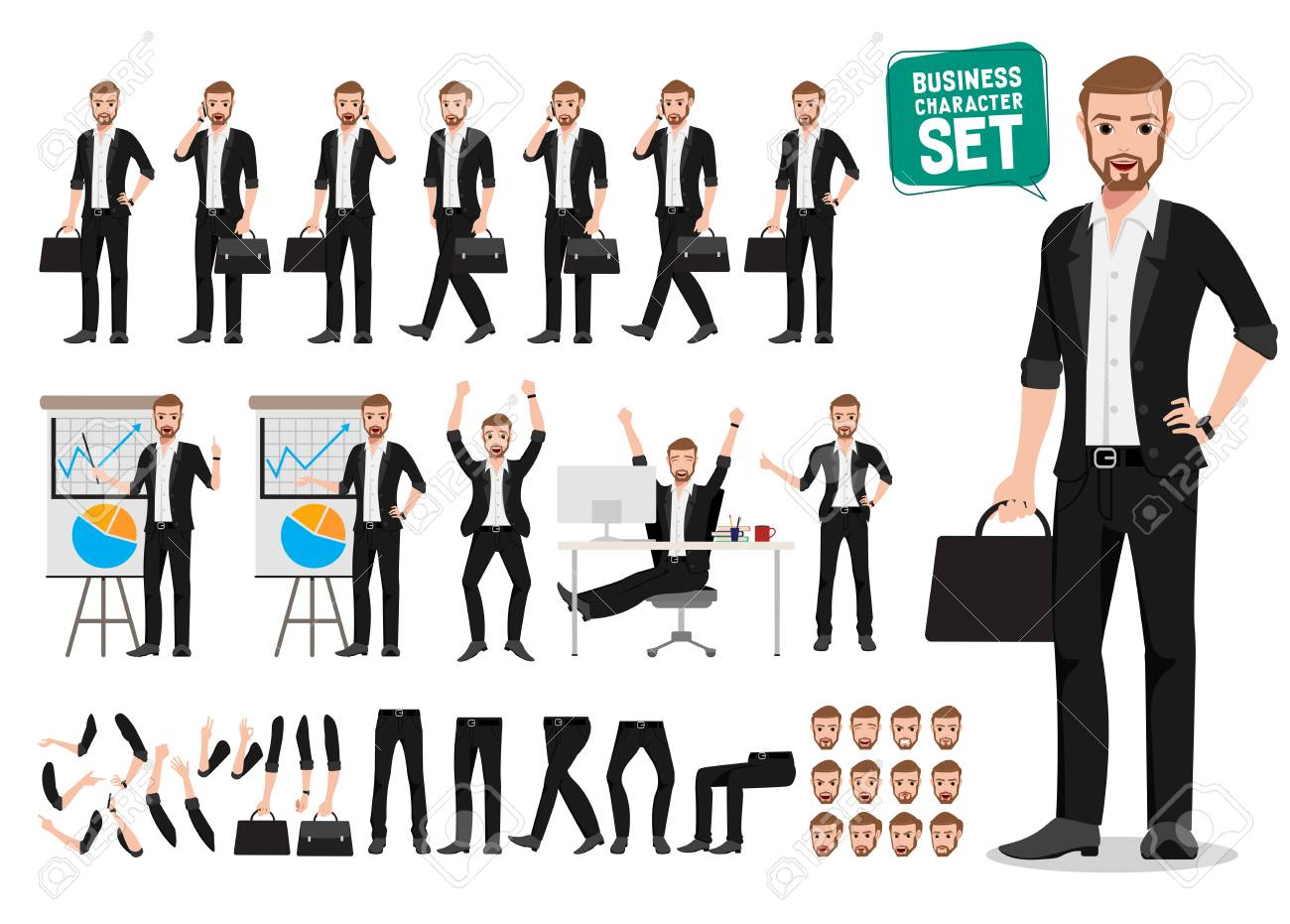 Business man vector character set  Male office person cartoon