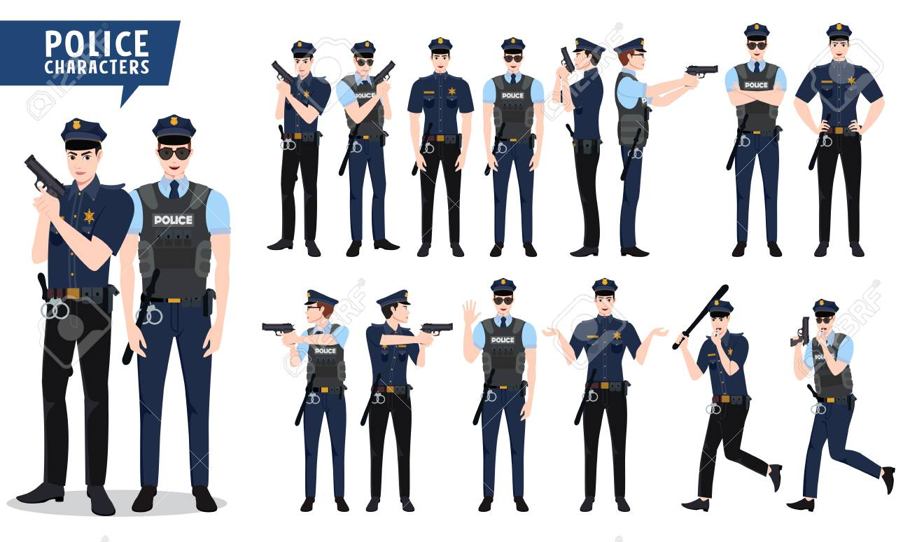 Police vector character set  Policeman characters holding gun