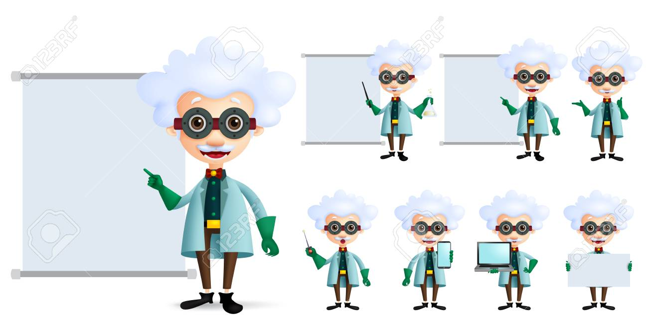 Genius scientist vector character set  Old inventor or professor