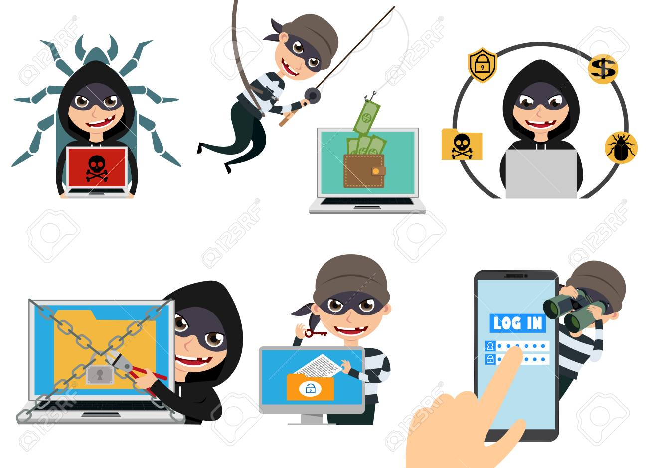 Cyber security hacker vector character set  Thief hacking computer