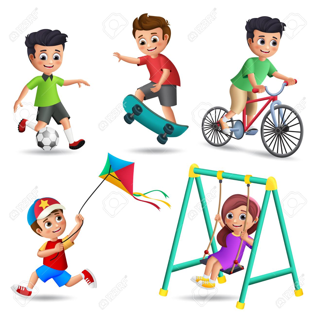 Kids playing vector characters set  Young boys and girls happy