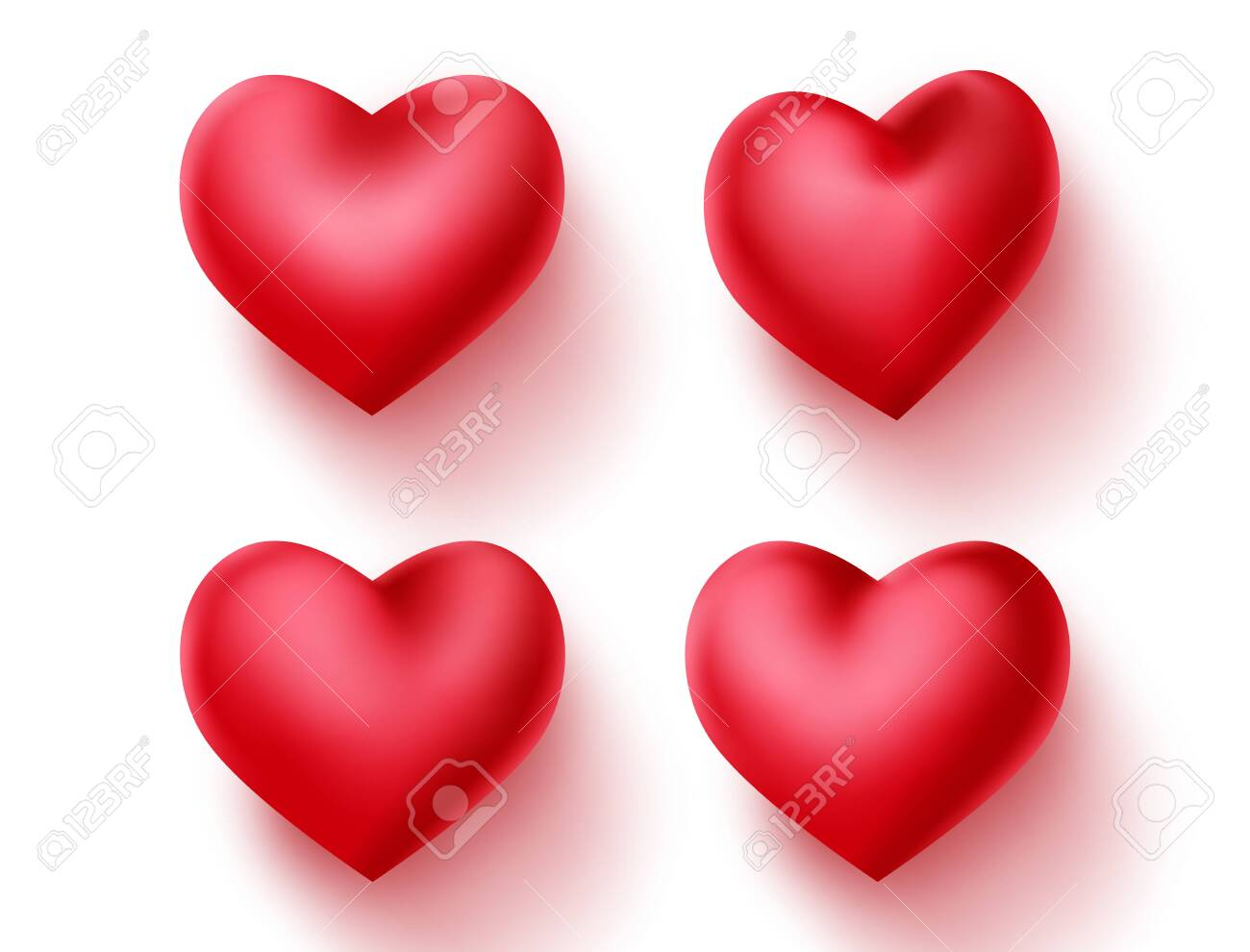 Heart valentines vector decoration set. Red hearts element for valentine sign and symbol isolated in empty white background. 3d realistic vector illustration. - 136077603