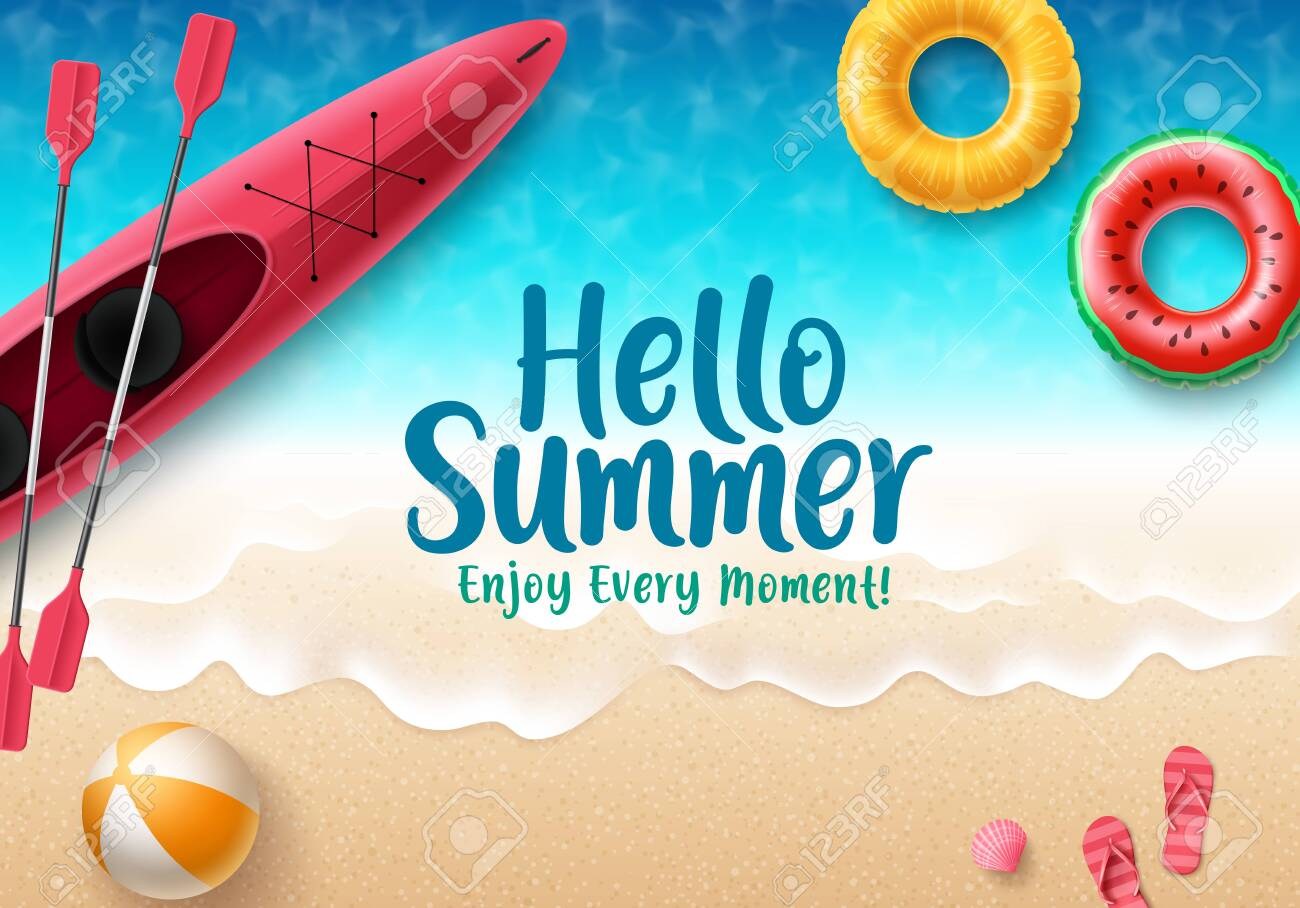Hello summer vector banner design. Hello summer text with colorful beach elements like beach ball, flipflop, floaters and kayak in seaside background for holiday seasonal purposes. Vector illustration. - 141518225