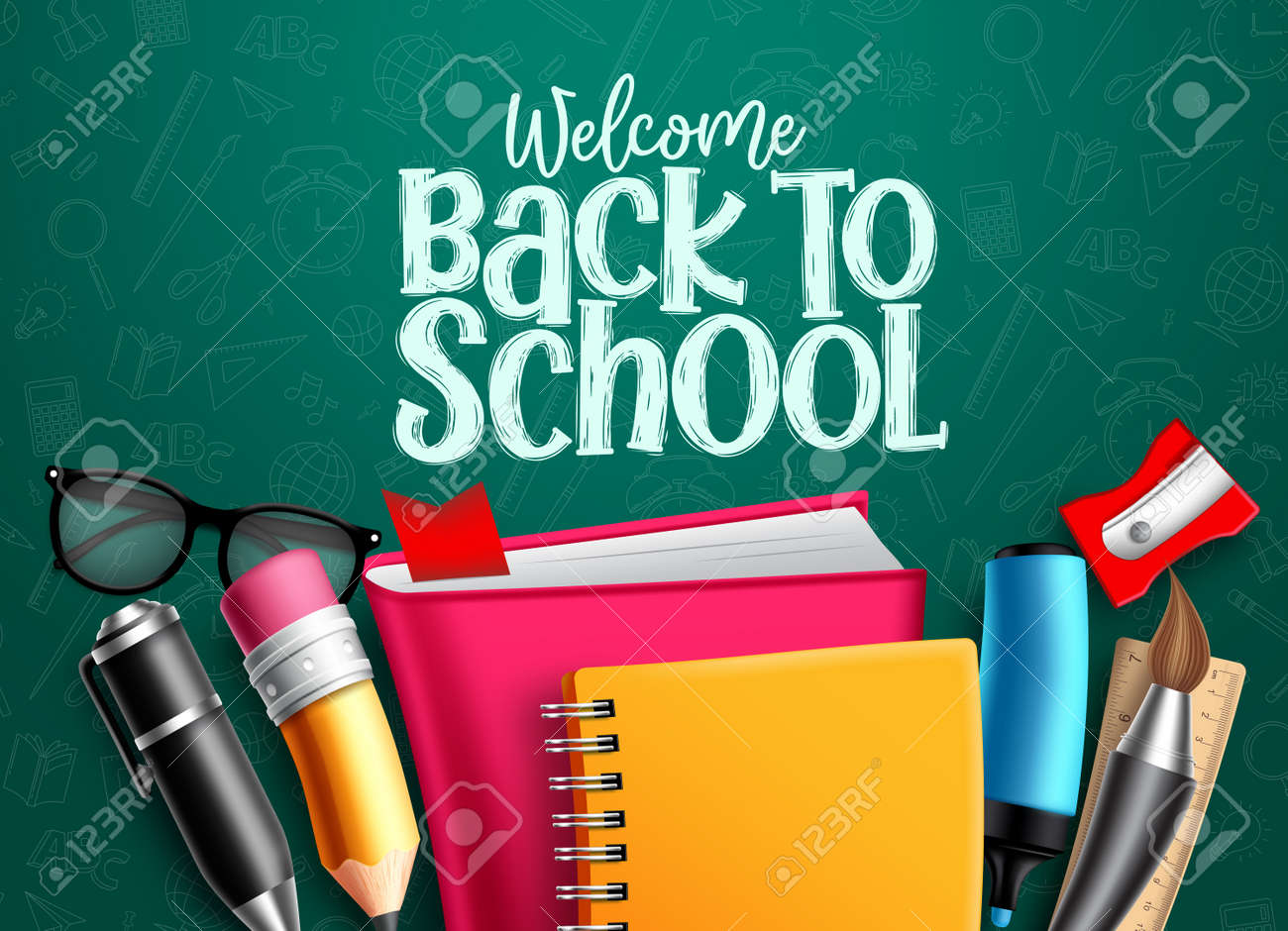 Back to school vector banner. Back to school welcome text with education items, supplies and objects in green pattern background foe educational design. Vector illustration. - 148508155