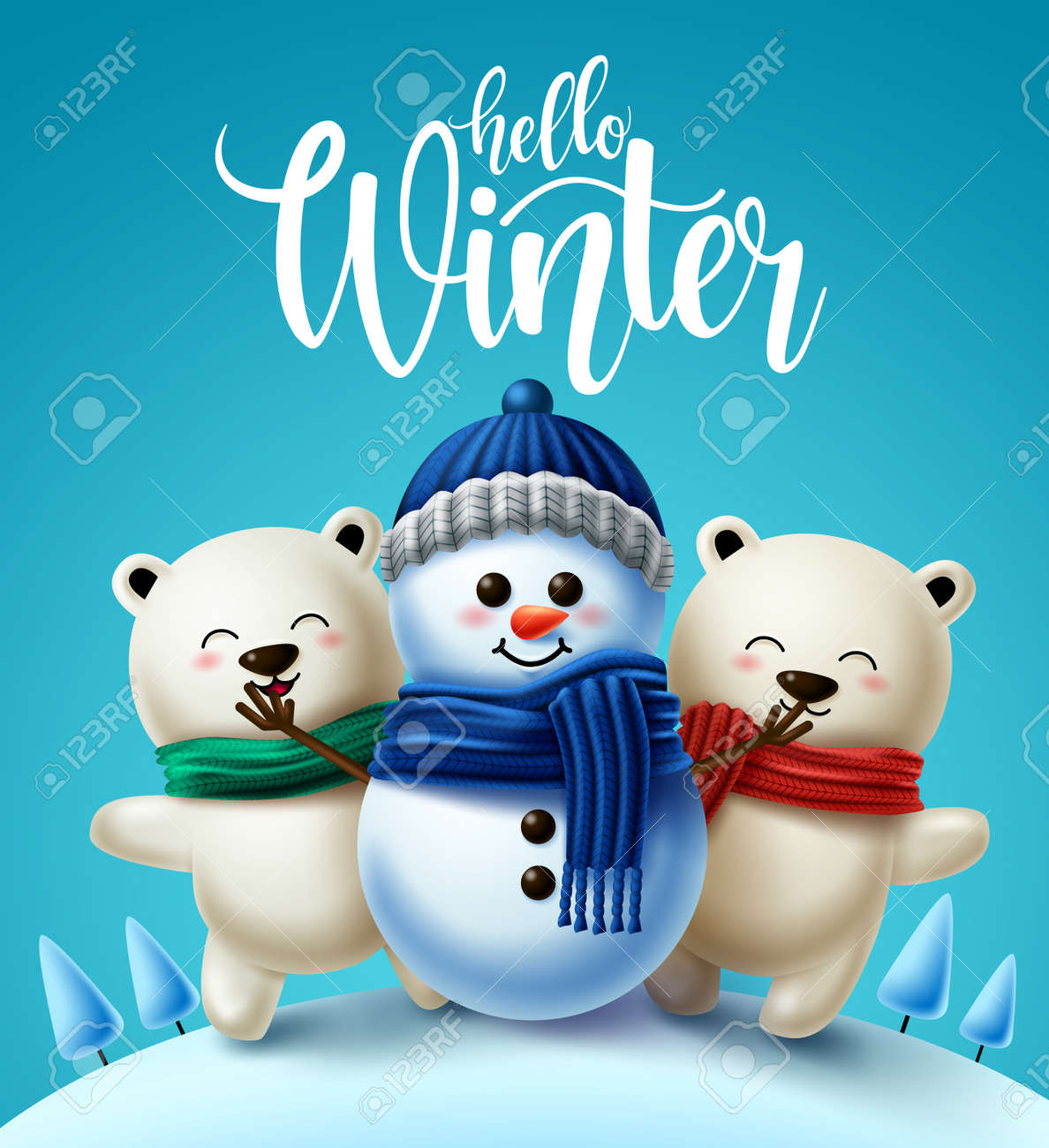 Winter characters vector background design. Hello winter greeting text with 3d snowman and polar bear character wearing scarf for winter holiday season. Vector illustration - 156882322