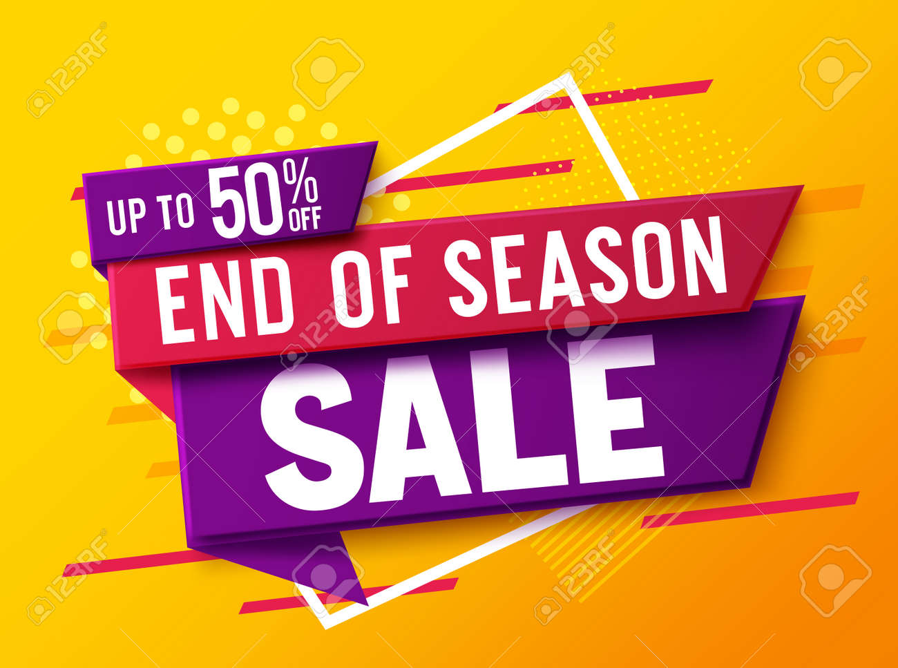 Sale discount vector banner design. 50% off sale text in a label tags for market shopping promotion advertisement. Vector illustration. - 158818191