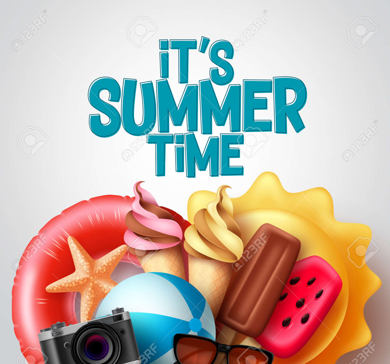 Summer time vector design. It's summer time text with tropical food and beach elements like ice cream, floater, and beachball for tropical season. Vector illustration. - 171126417