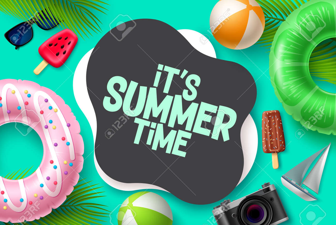 Summer time vector template design. It's summer time in blank space for text with tropical season elements like floaters and beach ball for beach vacation. Vector illustration. - 171126418