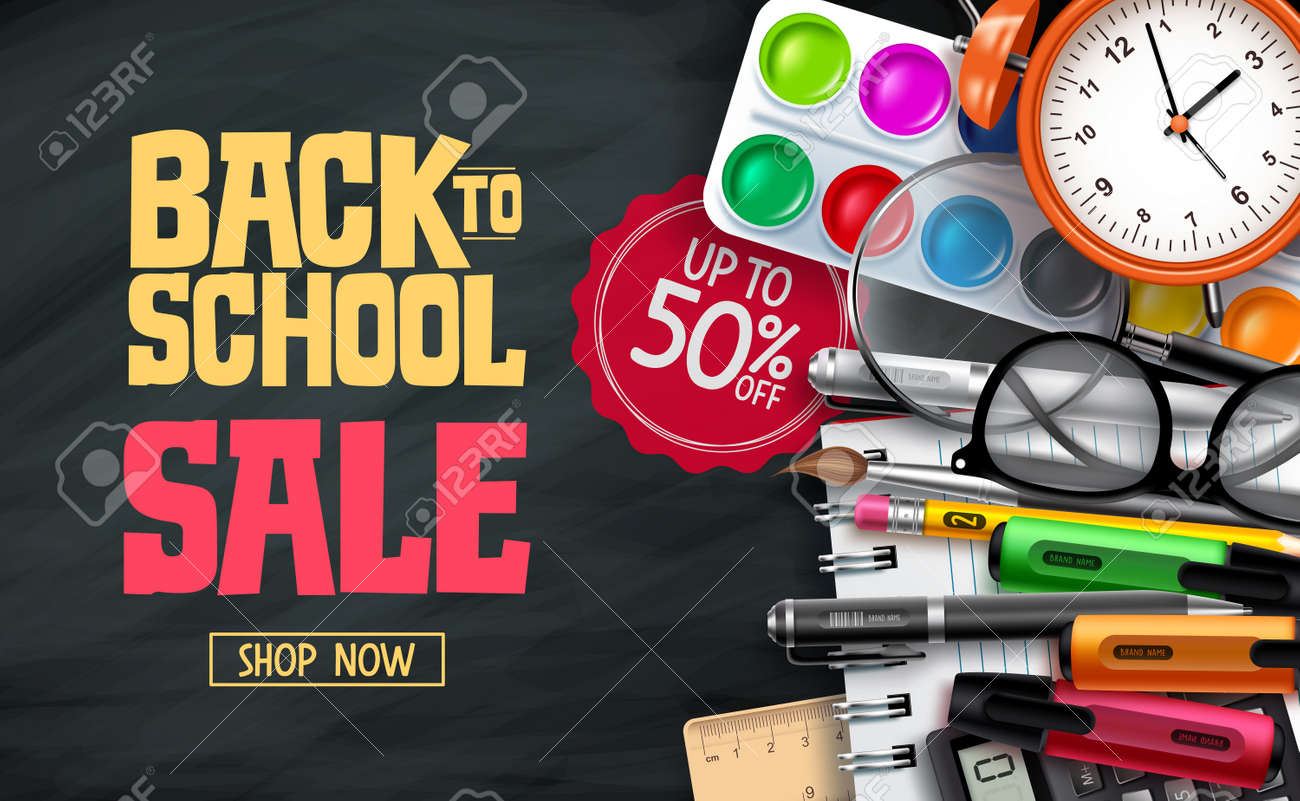 Back to school sale vector banner design. Back to school promotion text with 50% off educational supplies for advertisement design. Vector illustration - 168460252