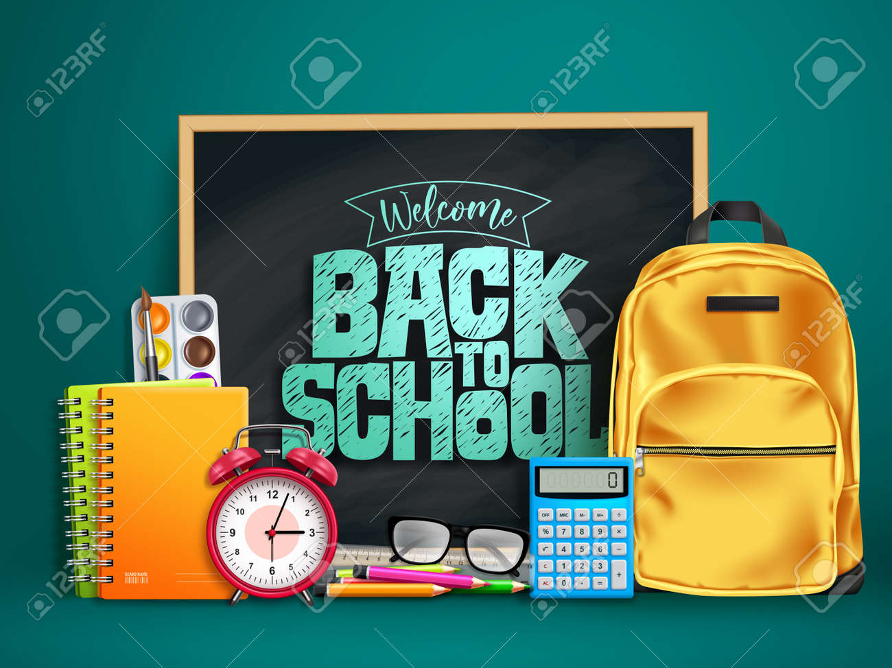 Back to school vector design. Welcome back to school text in chalkboard space with 3d educational supplies like bag, calculator, alarm clock and notebook in green background. Vector illustration - 168460253