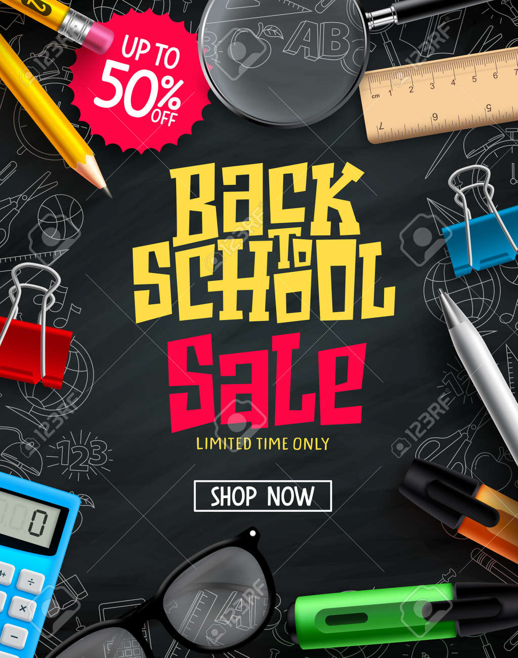 Back to school sale vector poster design. Back to school promotion text with 50% discount of educational supplies in black background . Vector illustration - 168629306