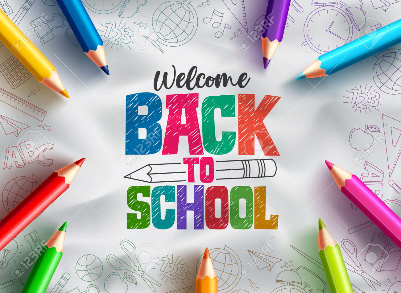 Back to school vector background design. Welcome back to school text with colorful pencils educational supplies element in hand drawn background. Vector illustration - 168629308