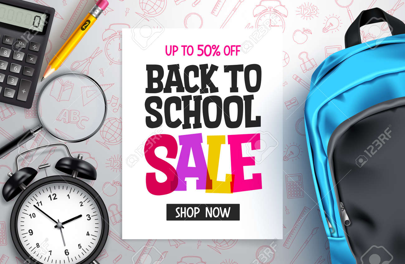 Back to school sale vector banner design. Back to school promotion text with 50% off educational supplies for advertisement design. Vector illustration - 168629309