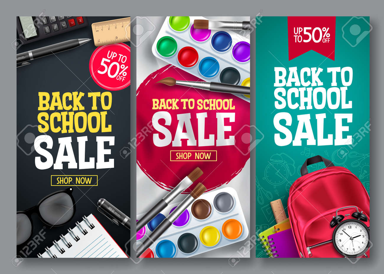 Back to school sale vector poster set. Back to school educational supplies promotion for advertising collection design. Vector illustration - 168629310