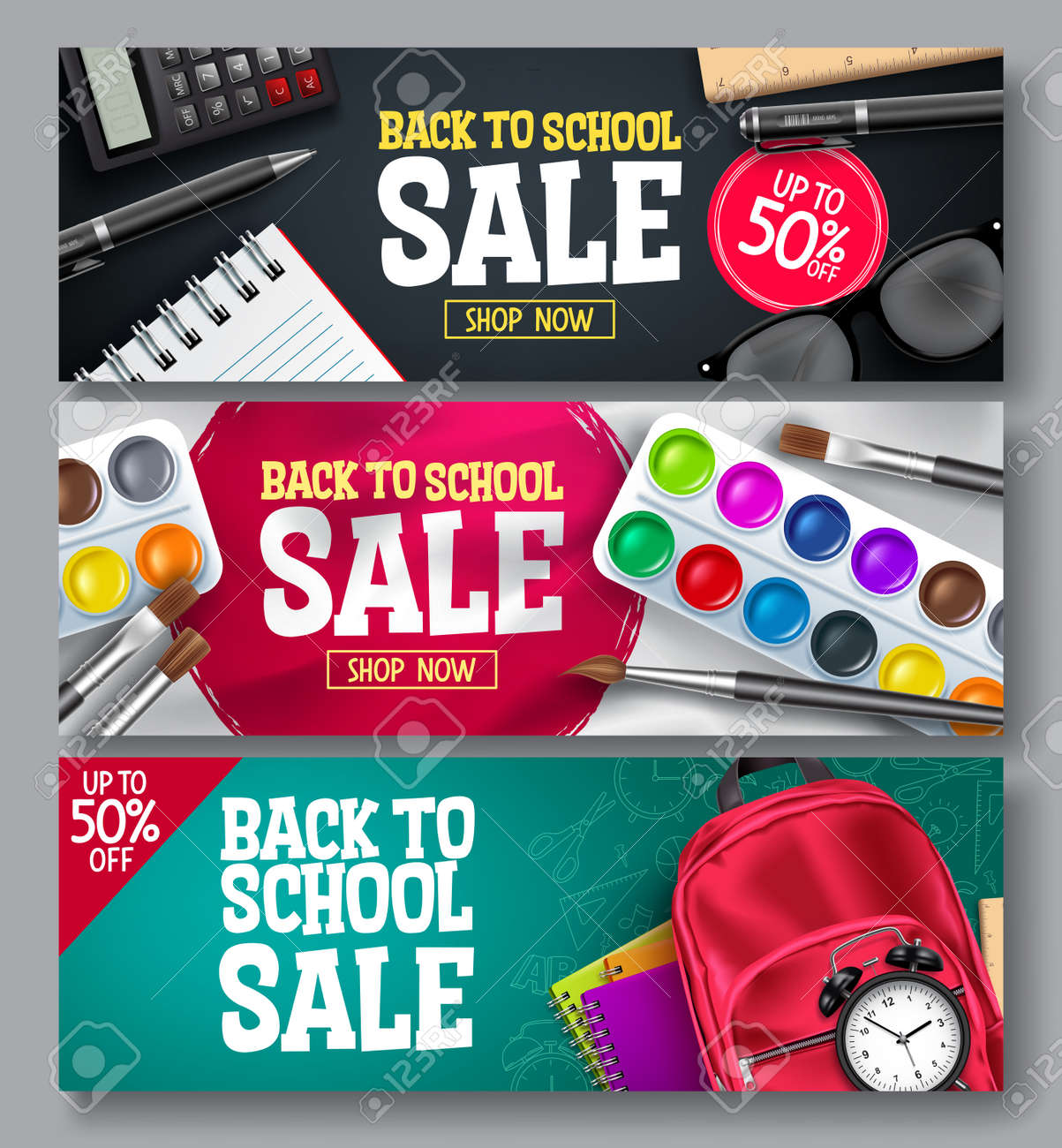 Back to school sale vector banner set. Back to school promo educational supplies for advertisement collection design. Vector illustration - 168629311