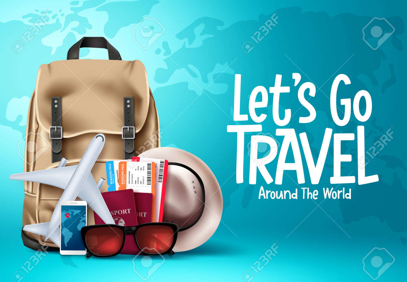 Travel vector template design. Let's go travel around the world text in blue map background for trip and tour worldwide vacation. Vector illustration - 169988035