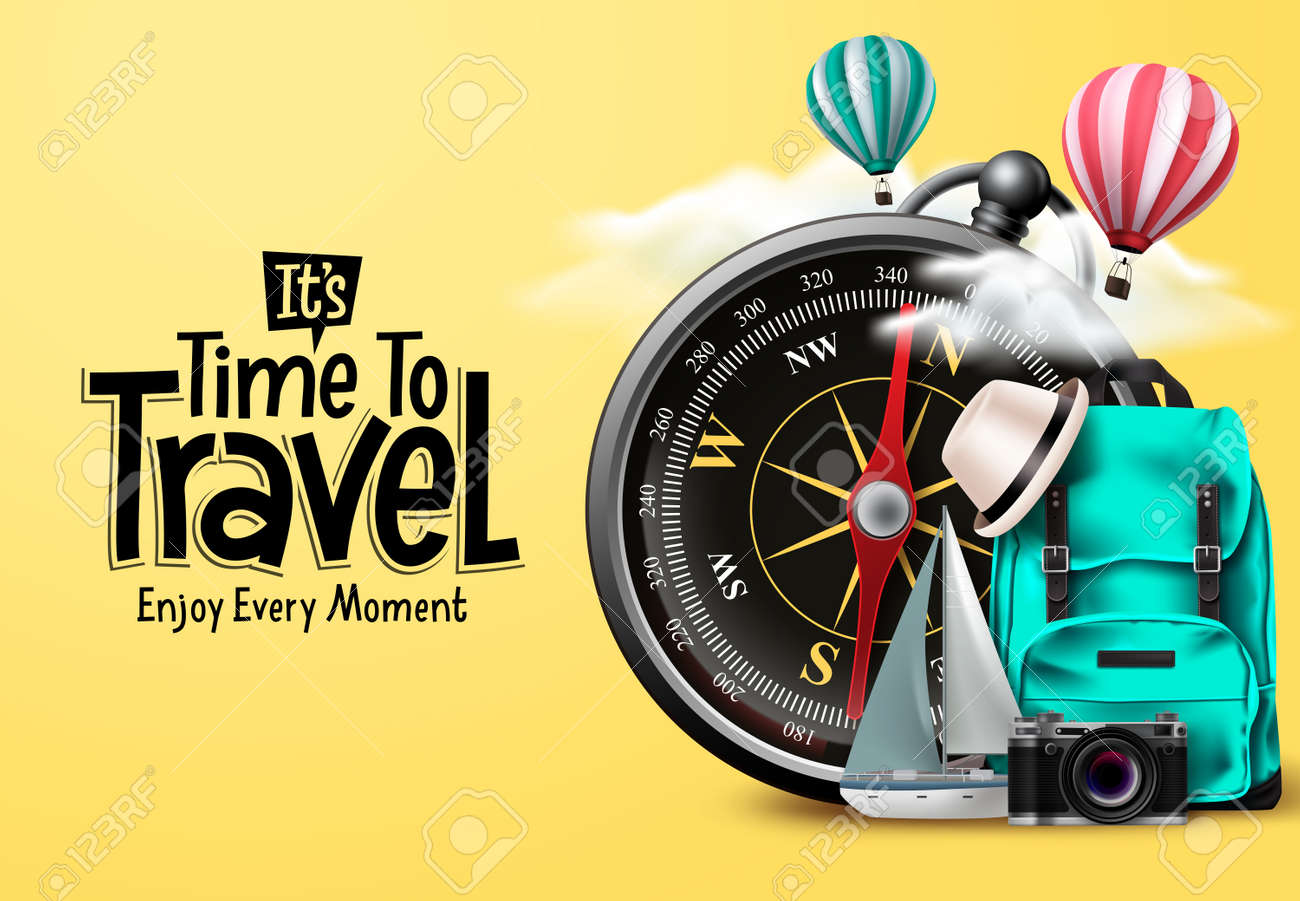 Travel time vector design. It's time to travel text in yellow empty space with traveler compass elements for international trip and tour exploration. Vector illustration. - 169987128