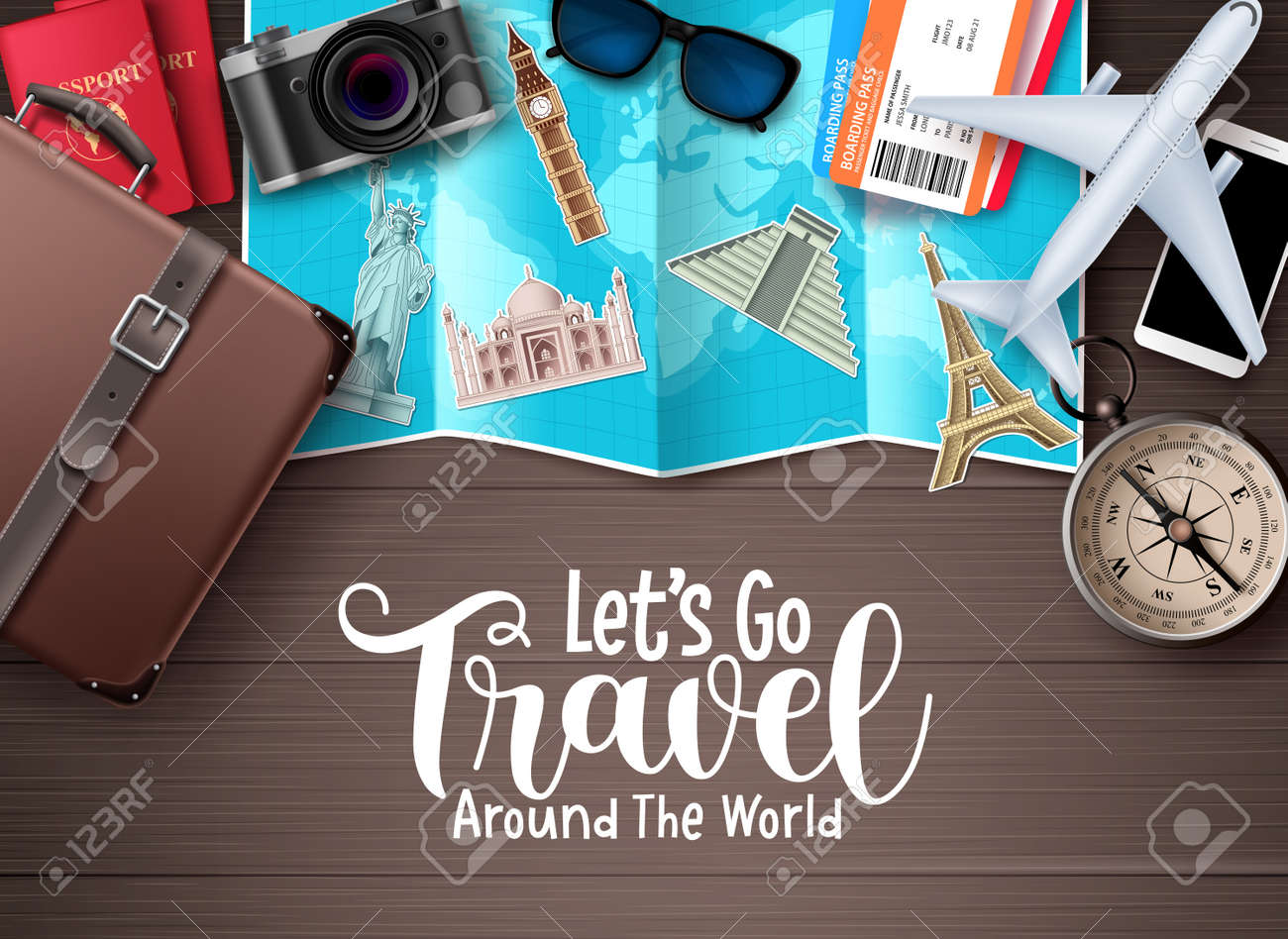 Travel vector design. Let's go travel around the world text in wood space background with traveler elements for trip and tour worldwide destination vacation. Vector illustration. - 169989322