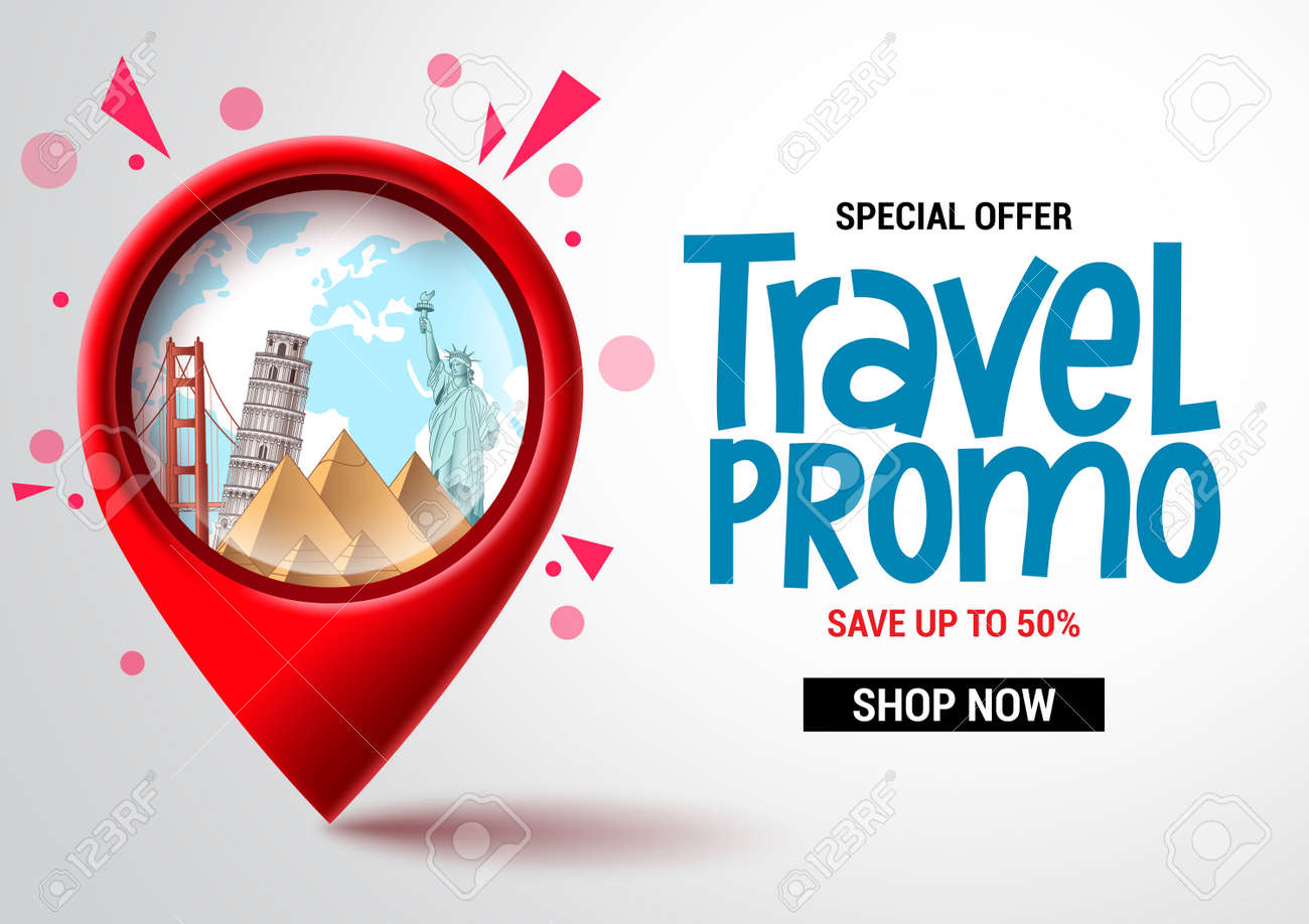 Travel sale vector banner design. Travel promo special offer text with location pin elements for advertising and promotional background. Vector illustration - 169986910