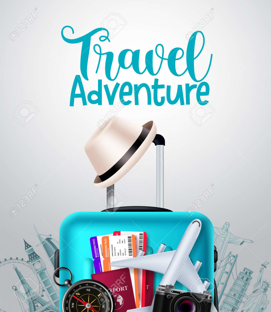 Travel adventure vector background design. Travel adventure text in empty space with traveler luggage, passport and ticket elements for trip and tour international vacation. Vector illustration - 170293716