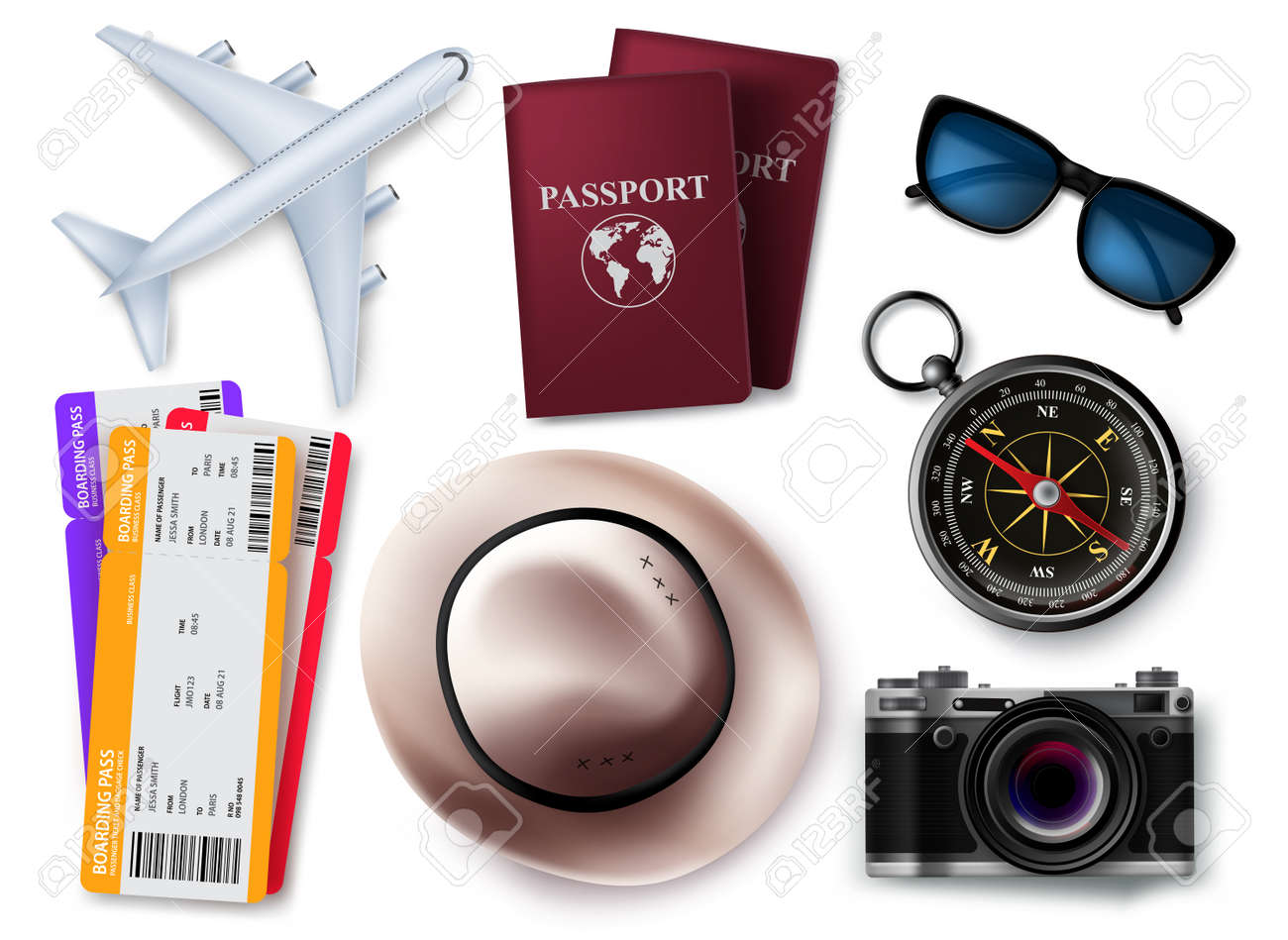 Travel elements vector set design. Travel and tour 3d object element isolated in white background for traveler items collection. Vector illustration. - 170293984