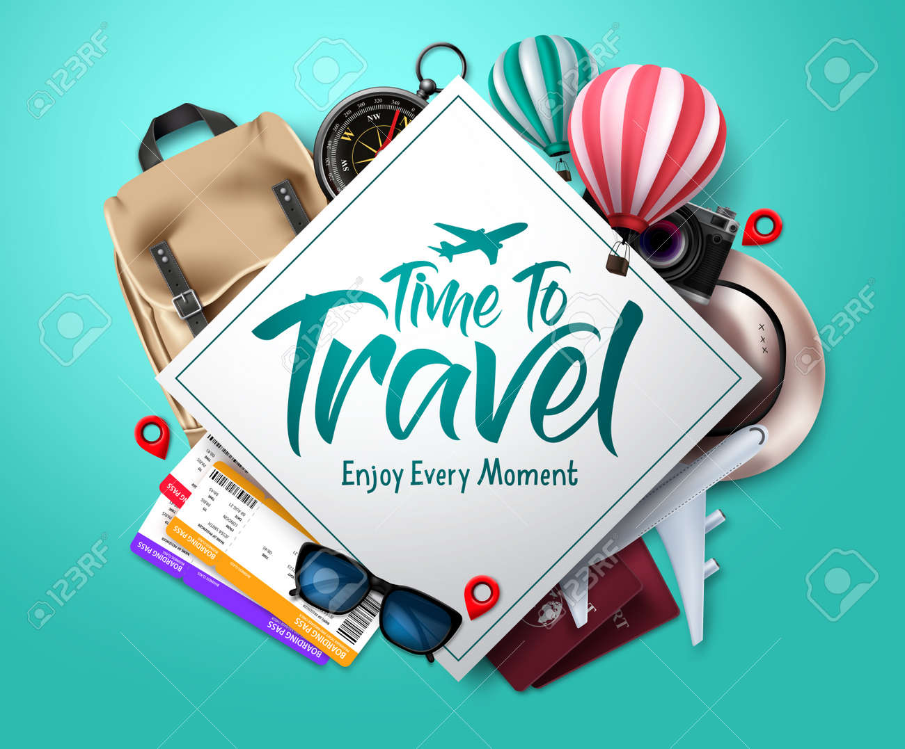 Travel time vector template design. Time to travel text in empty space frame with traveler elements for international trip and vacation. Vector illustration - 170293553