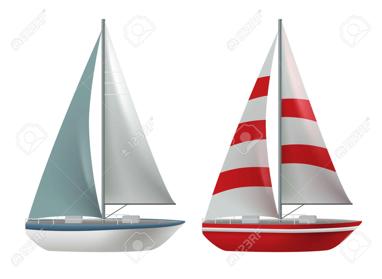 Travel boat vector set design. Travel ship and yacht collection elements isolated in white background for international cruise transportation. Vector illustration. - 170293594