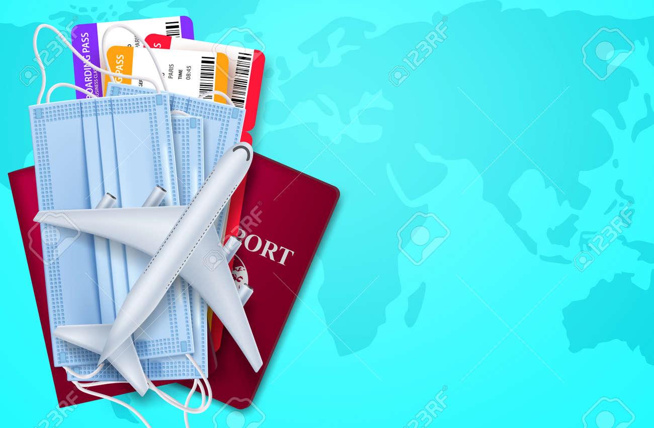 Travel vector background design. Travel health protection international flight cancelled for prevention worldwide pandemic. Vector illustration. - 170393450