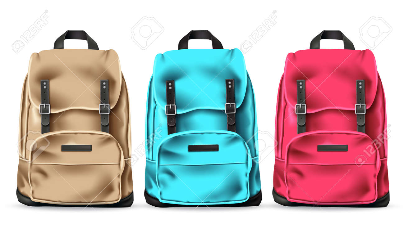 Travel bag vector set design. Traveler 3d bags collection elements isolated in white background for international adventure vacation. Vector illustration. - 170294158