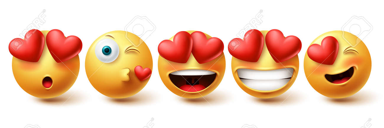 Smiley in love face vector set. Smileys and emoji collection in kissing, in love and happy facial expressions isolated in white background for emoticon design elements. Vector illustration - 171747781