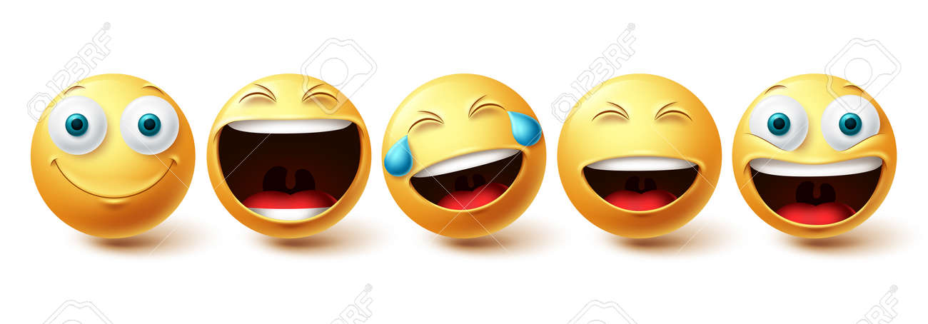 Smileys happy face vector set. Smiley faces and emoticon happy, cool, funny and cheerful facial expressions isolated in white background. Vector illustration - 171747783