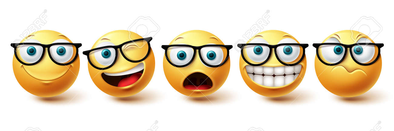 Smiley face vector set. Smileys nerd face with funny, happy and naughty facial expressions in yellow color emoji isolated in white background. Vector illustration - 171747785