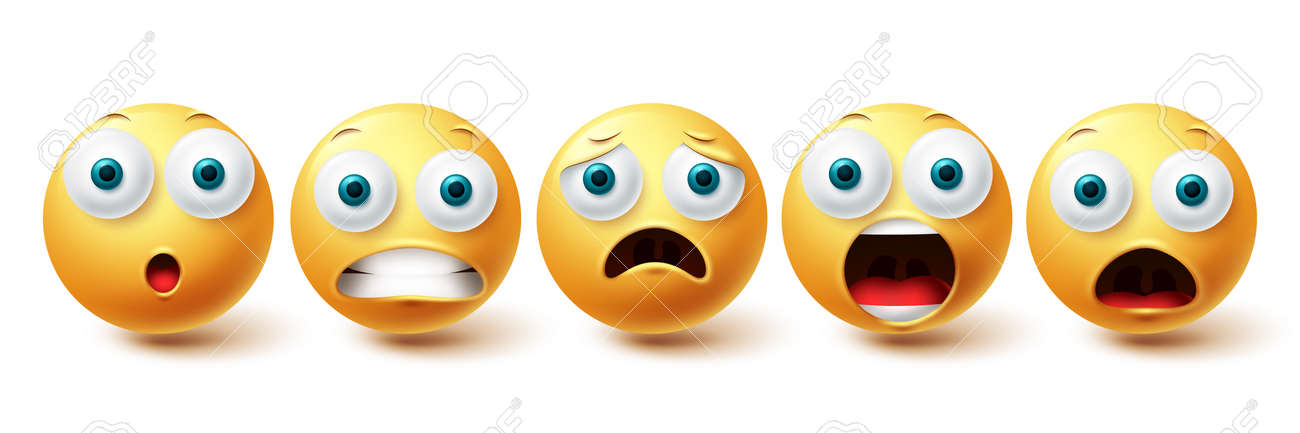 Smileys shocked face vector set. Smiley and emoticon shock, scared and sad collection isolated in white background for graphic elements design. Vector illustration - 171747788