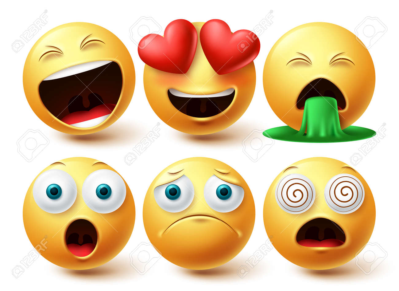 Smiley emoji faces vector set. Smileys emojis yellow icon collection with inlove, happy and sad facial expression in white isolated background. Vector illustration - 171747791
