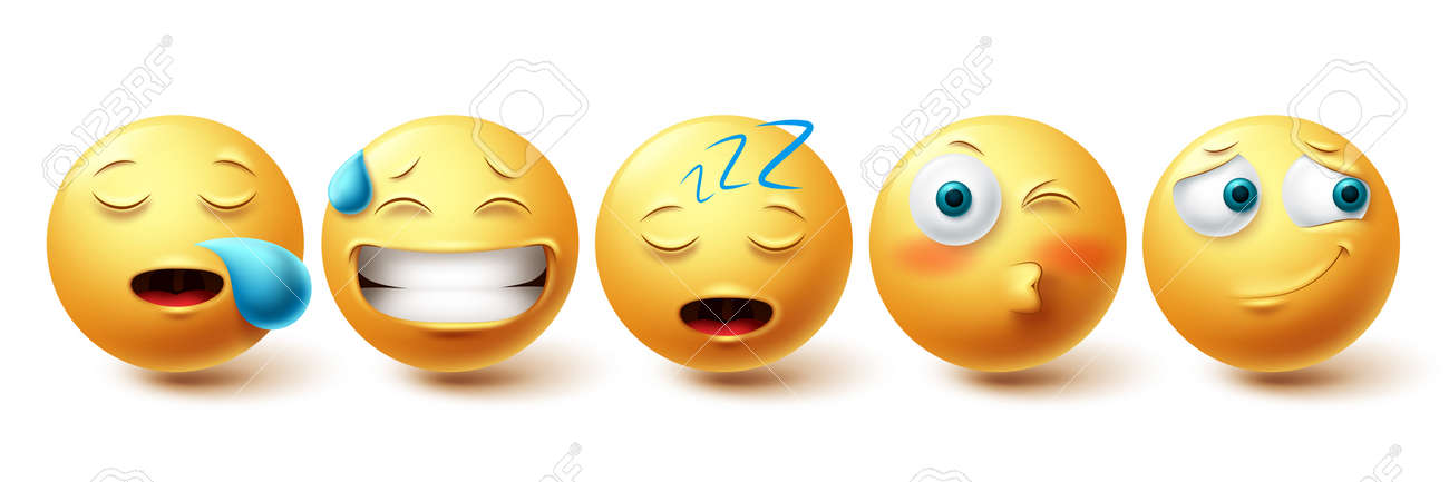 Smileys sleepy face vector set. Smiley yellow emoji with happy, blushing, snoring and sleeping collection isolated in white background for design elements. Vector illustration - 171747792