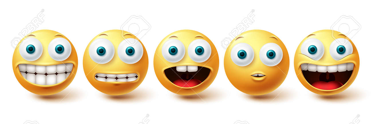 Emoji funny teeth vector set. Smiley icons and emoticon with funny and happy smile facial expressions isolated in white background. Vector illustration - 171747793
