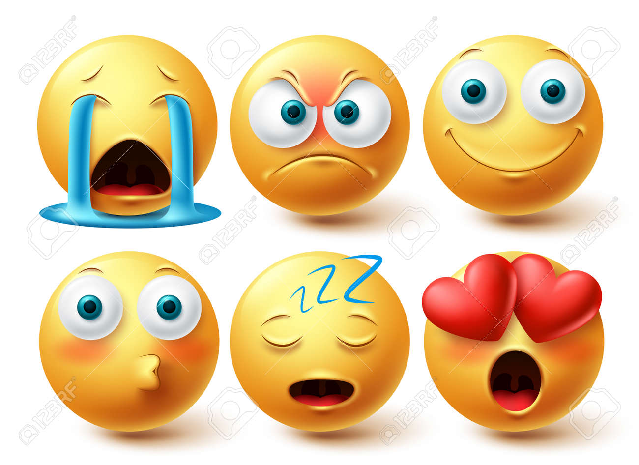 Smileys emoji face vector set. Emojis smiley collection isolated in white background for emoticon graphic elements design. Vector illustration - 171747794