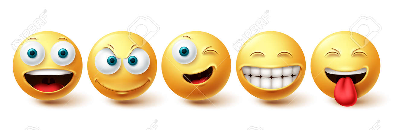 Smiley happy vector set. Smileys face yellow emoticon with funny, winking and naughty facial expressions isolated in white background for design elements. Vector illustration - 171747795